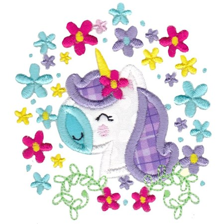 Floral Unicorn Face Applique