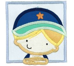 Boy Wearing Baseball Cap Applique