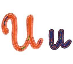 Curly Girl Alphabet Applique U