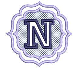 Embossed Monogram Font N