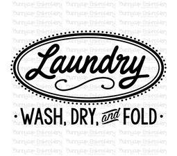 Retro Laundry Wash Fold And Dry SVG
