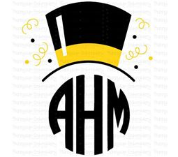 New Years Top Hat Monogram Topper SVG