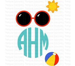 Summer Beach Monogram Topper SVG