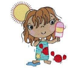Girl With Crab Eating Popsicle
