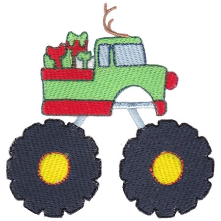 Christmas Monster Truck Filled Stitch