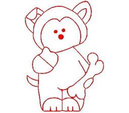 Carnival Bears Redwork 5
