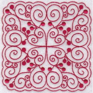 Cherries Quilt Blocks Redwork 3