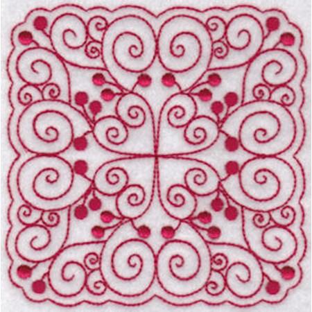 Cherries Quilt Blocks Redwork 3