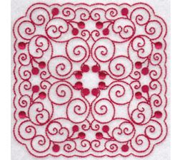 Cherries Quilt Blocks Redwork 5