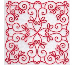 Elegant Quilt Blocks Redwork 10