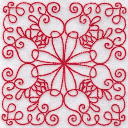 Elegant Quilt Blocks Redwork 12