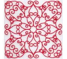 Elegant Quilt Blocks Redwork 3
