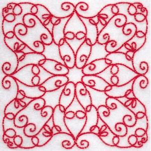 Elegant Quilt Blocks Redwork 3
