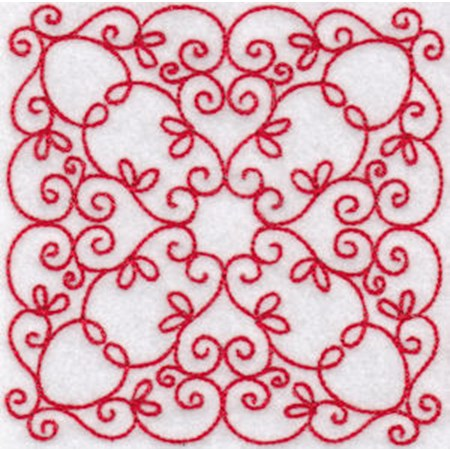 Elegant Quilt Blocks Redwork 7