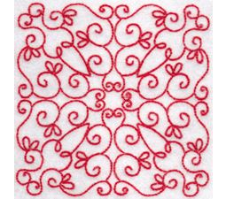 Elegant Quilt Blocks Redwork 8