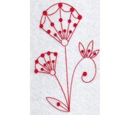 Fantasy Flowers Redwork 1