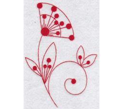 Fantasy Flowers Redwork 10