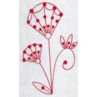 Fantasy Flowers Redwork