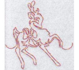 Festive Deers Redwork 1