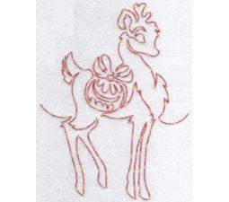 Festive Deers Redwork 3