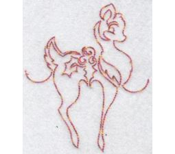 Festive Deers Redwork 5