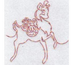 Festive Deers Redwork 8