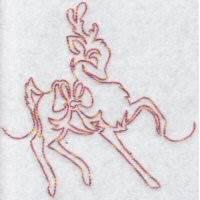 Festive Deers Redwork