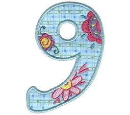 Funky Applique Numbers 9
