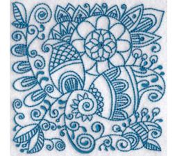 Ink Flower Redwork Blocks 11