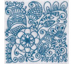 Ink Flower Redwork Blocks 6