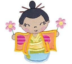 Kokeshi Dolls Applique 9