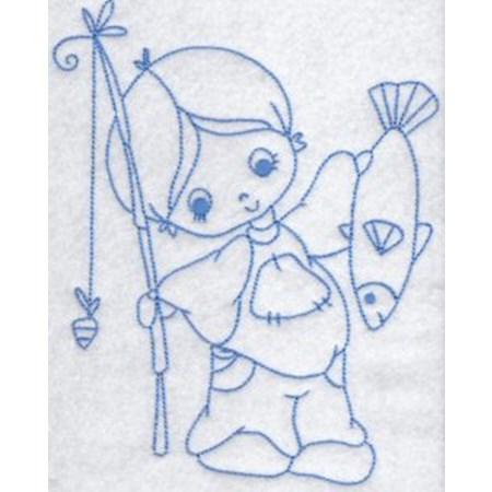 Little Fisherman Redwork 3