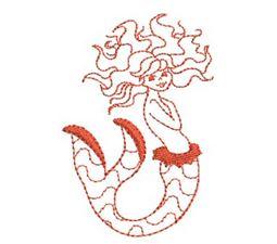 Mermaids Redwork 4