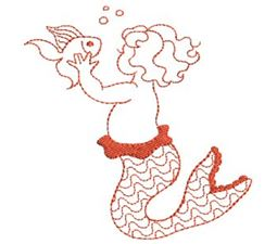 Mermaids Redwork 8