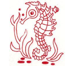 Seahorses Redwork 1