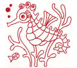 Seahorses Redwork 10
