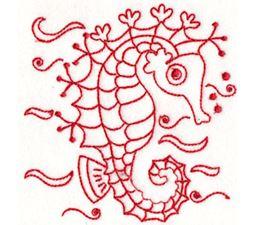 Seahorses Redwork 12