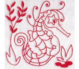 Seahorses Redwork 5