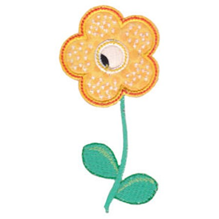 Yellow Spotted Flower Applique