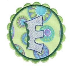 Button Applique Alphabet E