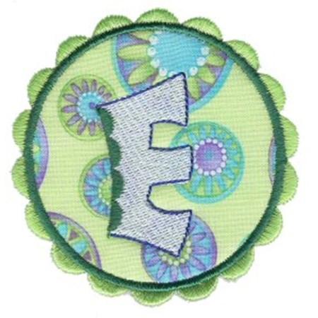 Button Applique Alphabet E