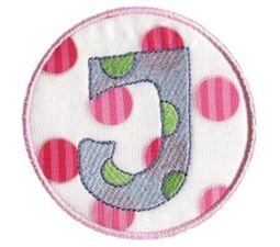 Button Applique Alphabet J