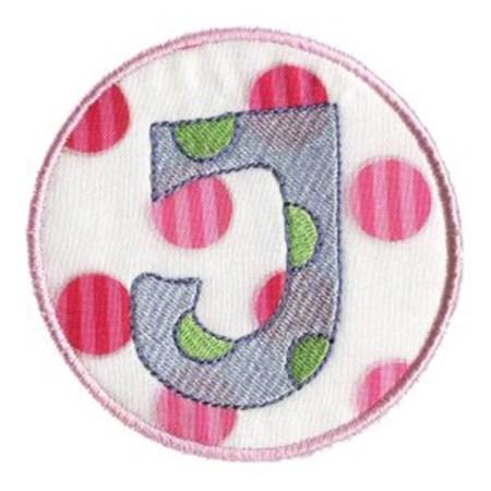 Button Applique Alphabet J