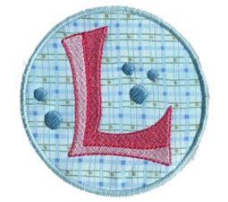 Button Applique Alphabet L