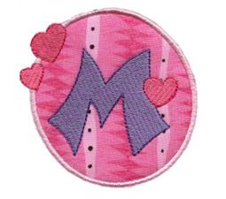 Button Applique Alphabet M