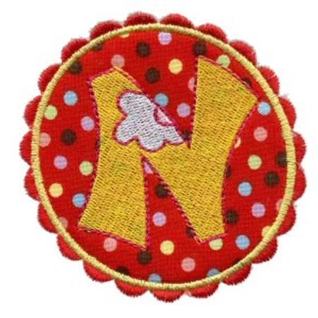 Button Applique Alphabet N