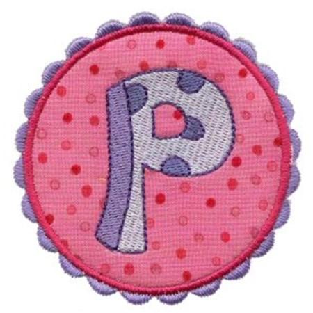 Button Applique Alphabet P