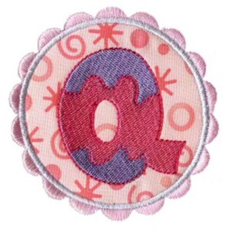 Button Applique Alphabet Q