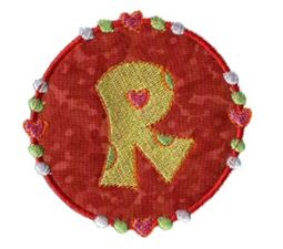 Button Applique Alphabet R