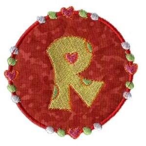 Button Applique Alphabet R